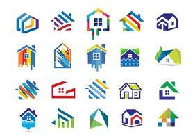 collection d'icônes maison colorée