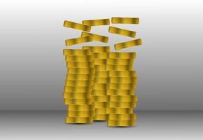 jeu croissant de pile de pièces vecteur