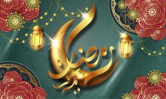 carte de voeux brillante de luxe ramadan kareem