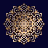 conception unique de mandala floral doré vecteur