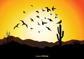 Scène de coucher du soleil oiseau volant vecteur