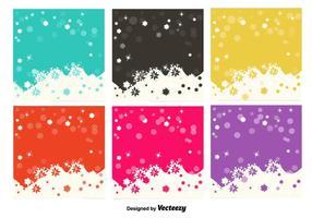 Flocons de neige fond coloré