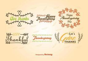 Étiquettes caligraphiques de Thanksgiving