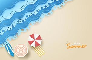 scène de plage de haut en bas avec bonjour texte d'été