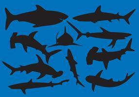 Vecteurs de silhouette de requin vecteur