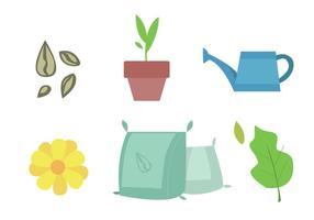 Ensemble d'icônes de jardinage vecteur