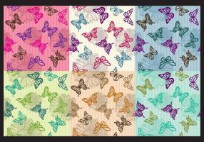 Motifs papillons vintage vecteur