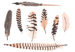 Vecteurs de plumes dessinés à la main vecteur