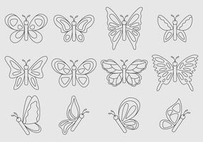Papillons vectoriels linéaires vecteur