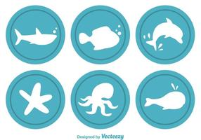Icônes vectorielles circulaires Sealife