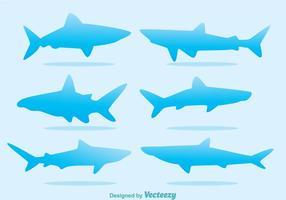 Vecteurs de silhouette de requin bleu vecteur