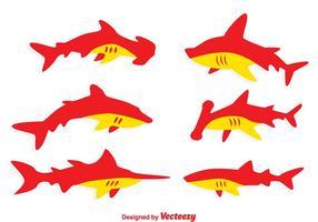 Vecteurs de requins rouges et orange