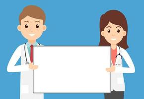médecins masculins et féminins tenant une pancarte vide vecteur