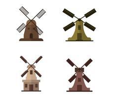 jeu d'icônes de moulin à vent vecteur
