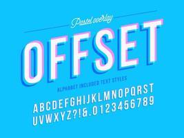 alphabet offset de superposition pastel vecteur