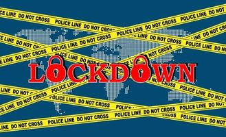 affiche avec ruban de police, carte du monde et texte de verrouillage