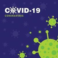 affiche de l'épidémie de covid 19 en violet et vert