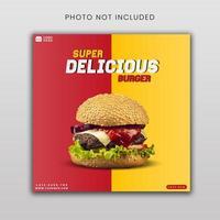modèle de bannière de médias sociaux burger super délicieux vecteur