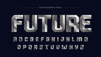 typographie sportive futuriste métallique argent chromé