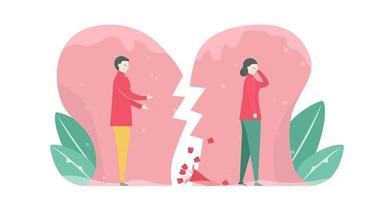 couple devant le coeur brisé de style floral