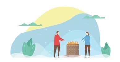 amoureux se réchauffant au coin du feu