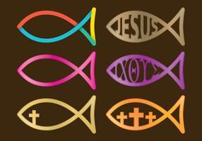 Poissons chrétiens avec du texte vecteur