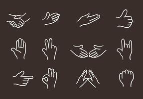 Icônes de la main blanche vecteur