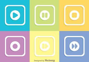Boutons de médias carrés colorés vecteur