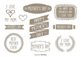 Ensemble d'étiquettes pour la fête des mères à la main