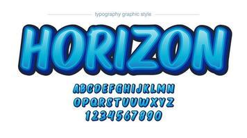 alphabet 3d dessin animé dégradé bleu vecteur