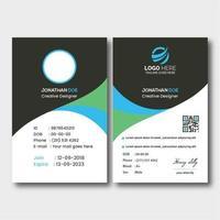 carte d'identité incurvée grise, bleue et verte vecteur