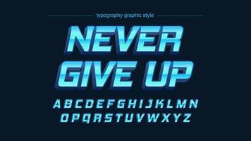 alphabet artistique métallique vibrant bleu chrome 3d