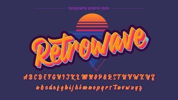 police de calligraphie orange coloré vintage vecteur