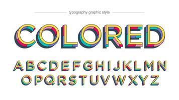 alphabet rétro avec des sections colorées vecteur