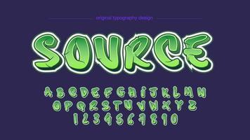 Alphabet lettres graffiti vert isolé vecteur