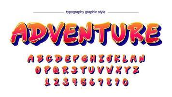 rouge vibrant avec alphabet de dessin animé ombre bleue vecteur