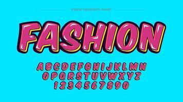 alphabet de style autocollant brillant dessin animé rose et jaune vecteur