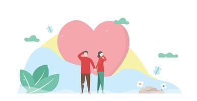 homme femme, tenant mains, devant coeur