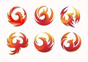 ensemble de logo cercle phoenix vecteur