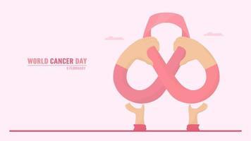 bras et mains formant un ruban contre le cancer