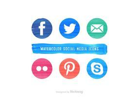 Icônes de vecteur d'aquarelle pour les médias sociaux gratuits