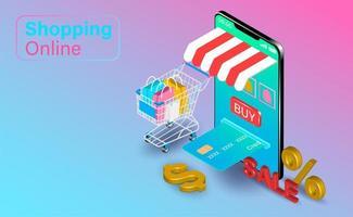 achats en ligne sur smartphone avec panier de crédit vecteur