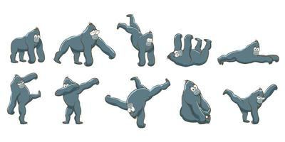 ensemble de gorilles de dessin animé