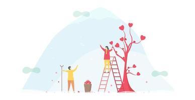 femme, cueillette, cœurs, depuis, arbre