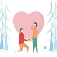 homme, proposer, femme, neigeux, pins