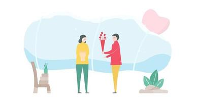 homme donnant un bouquet de fleurs à la femme