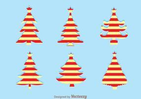 Silhouettes de rayures d'arbre de Noël vecteur