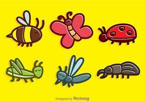 Vecteurs mignons de bande dessinée d'insectes vecteur