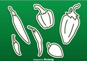 Green Green Pepper Vectors