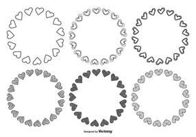 Ensemble de cadre en forme de coeur dessiné à la main vecteur